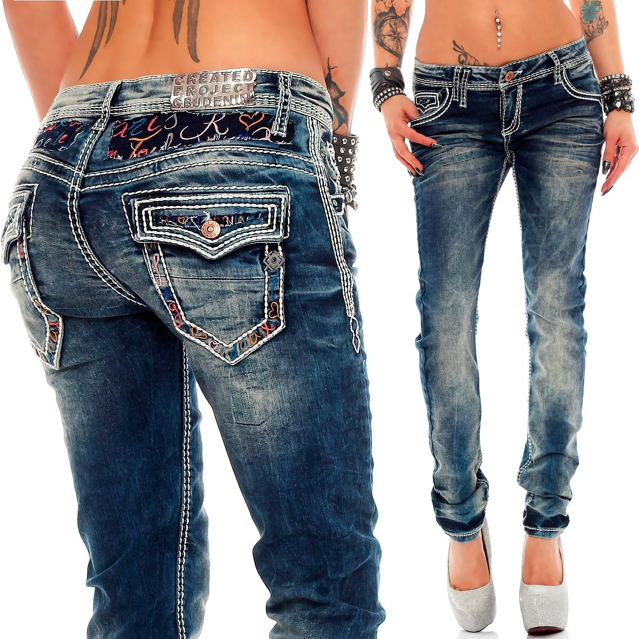 Verschiedene-Cipo-amp-Baxx-Damen-Jeans-Hosen-Slim-Fit-Regular-Fit-Streetwear Indexbild 15