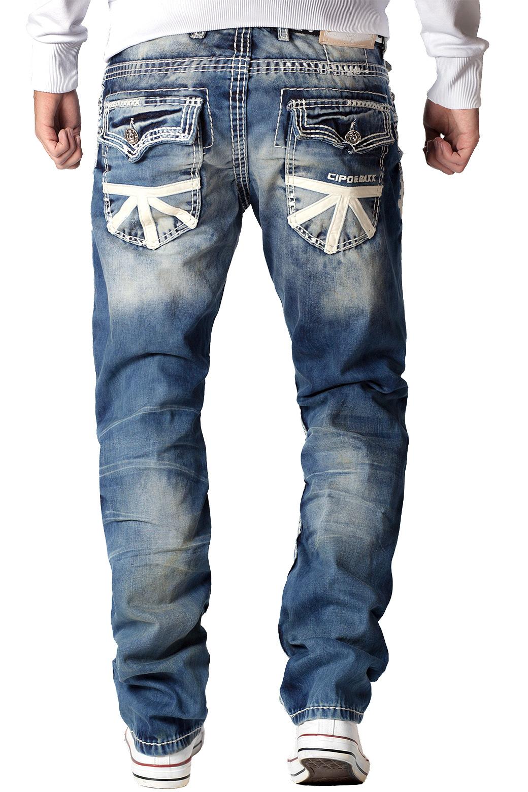 Cipo-amp-Baxx-Uomo-Jeans-Pantaloni-ricamate-Biker-Style-streetwear-nervature-pattern-Dope miniatura 10