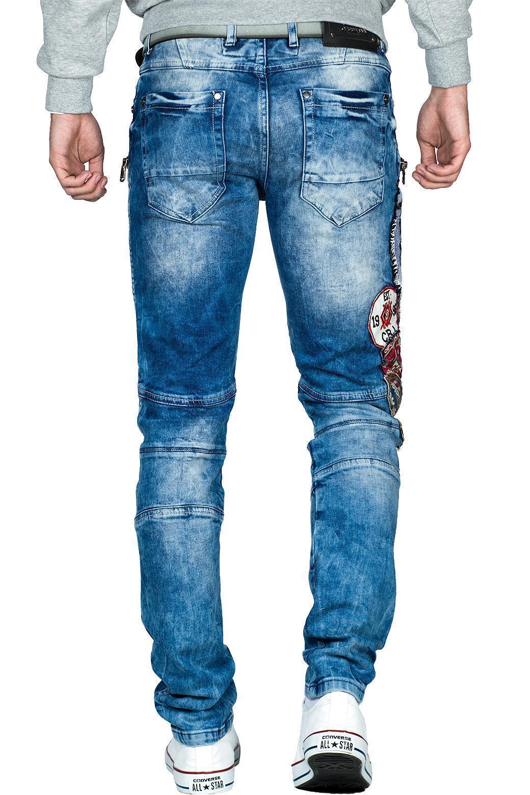 Cipo-amp-Baxx-Uomo-Jeans-Pantaloni-ricamate-Biker-Style-streetwear-nervature-pattern-Dope miniatura 35