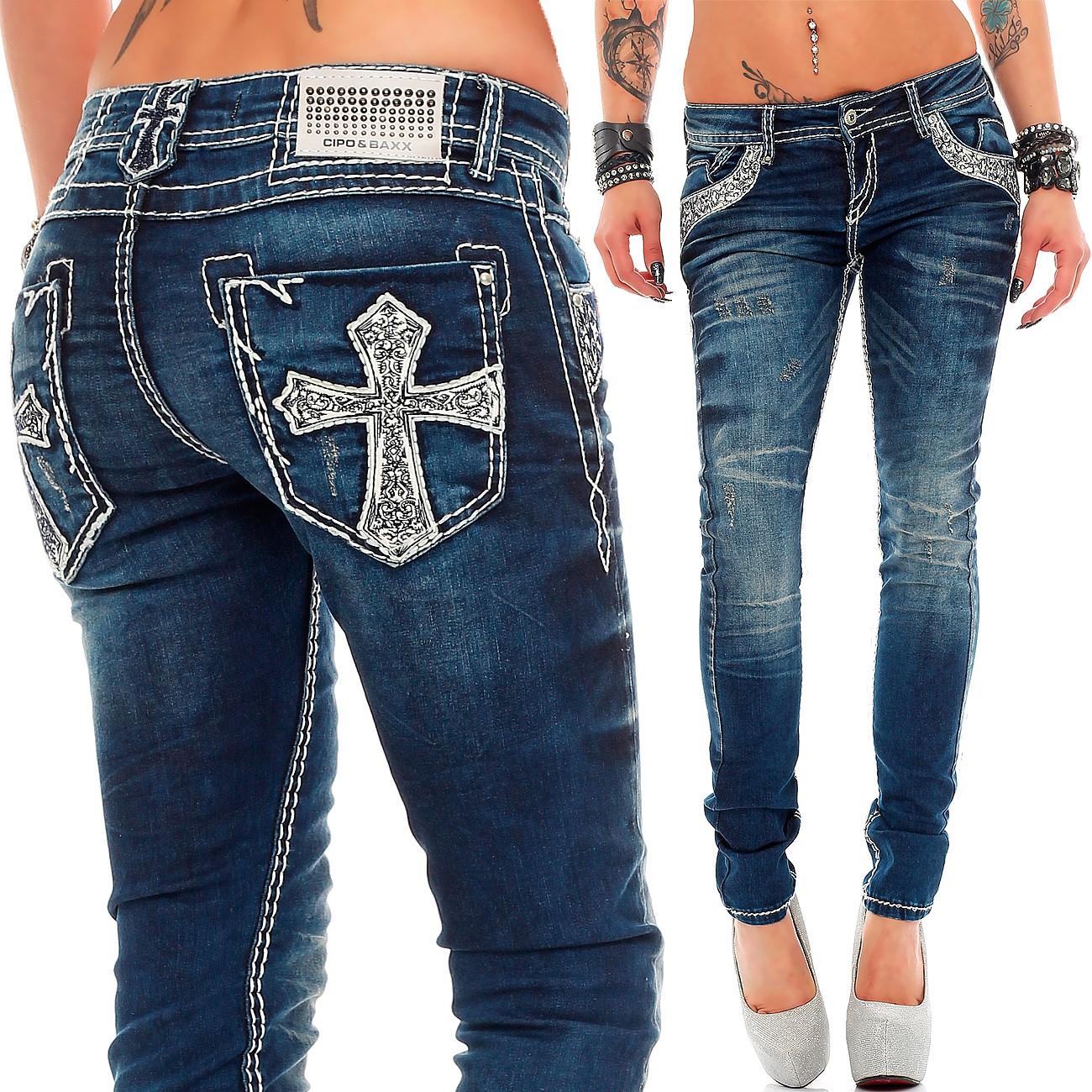 Verschiedene-Cipo-amp-Baxx-Damen-Jeans-Hosen-Slim-Fit-Regular-Fit-Streetwear Indexbild 17