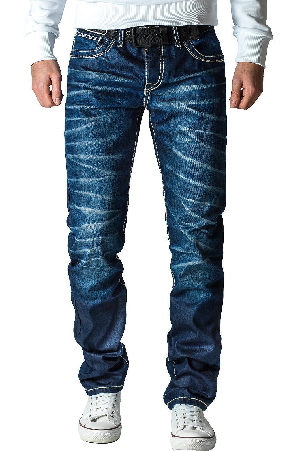 Cipo-amp-Baxx-Uomo-Jeans-Pantaloni-ricamate-Biker-Style-streetwear-nervature-pattern-Dope miniatura 14