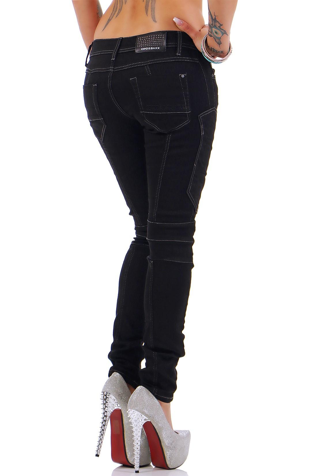 Verschiedene-Cipo-amp-Baxx-Damen-Jeans-Hosen-Slim-Fit-Regular-Fit-Streetwear Indexbild 57