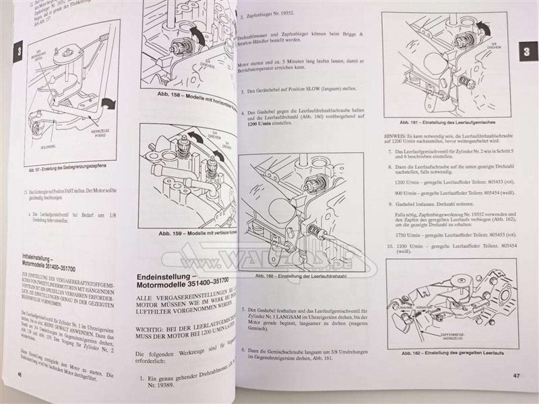 orig briggs stratton reparaturhandbuch v zweizylinder. Black Bedroom Furniture Sets. Home Design Ideas