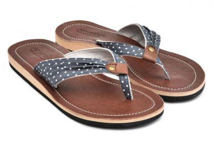LESTARIE Damen Sandale Zehentrenner Leder Flip Flops Sandalette Jeans Sandalen
