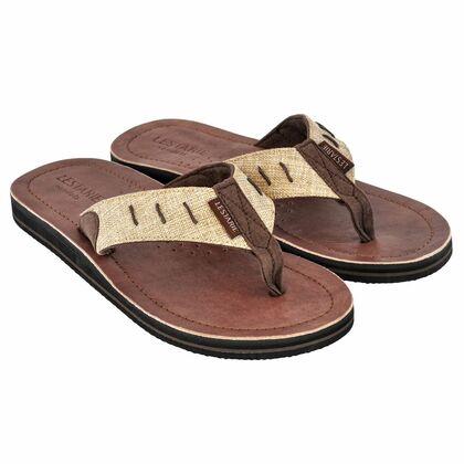 bc224786392a57 handgefertigte Herrensandale mit Echt-Leder Obersohle  ergonomisch  geformtes Fußbett  Zehensteg ...