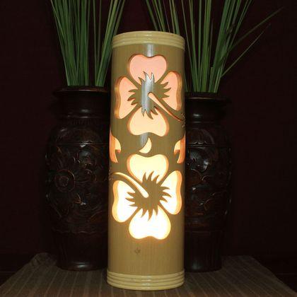 Lestarie Bambus Lampen Hibiskus Bluten Lampe Handgefertigt 45cm Deko