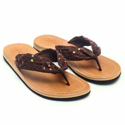 Details zu Lestarie Damen Sandale Zehentrenner Leder Flip Flop Zehensteg Sandalen Gr.36 43
