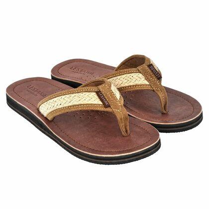 47fac6a842264c LESTARIE-Sandals. handgefertigte Herrensandale mit Echt-Leder Obersohle   ergonomisch geformtes Fußbett  Zehensteg ...