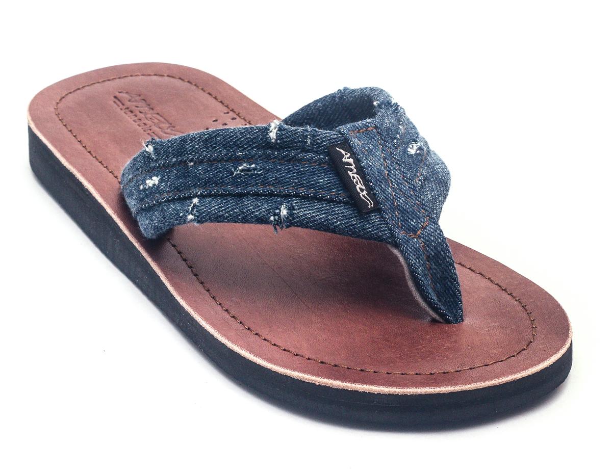 8c68aad2a67d10 Lestarie Herren Sandale Zehentrenner Denim Look Sandalen Leder Flip Flop  Jeans 2 2 von 4 ...