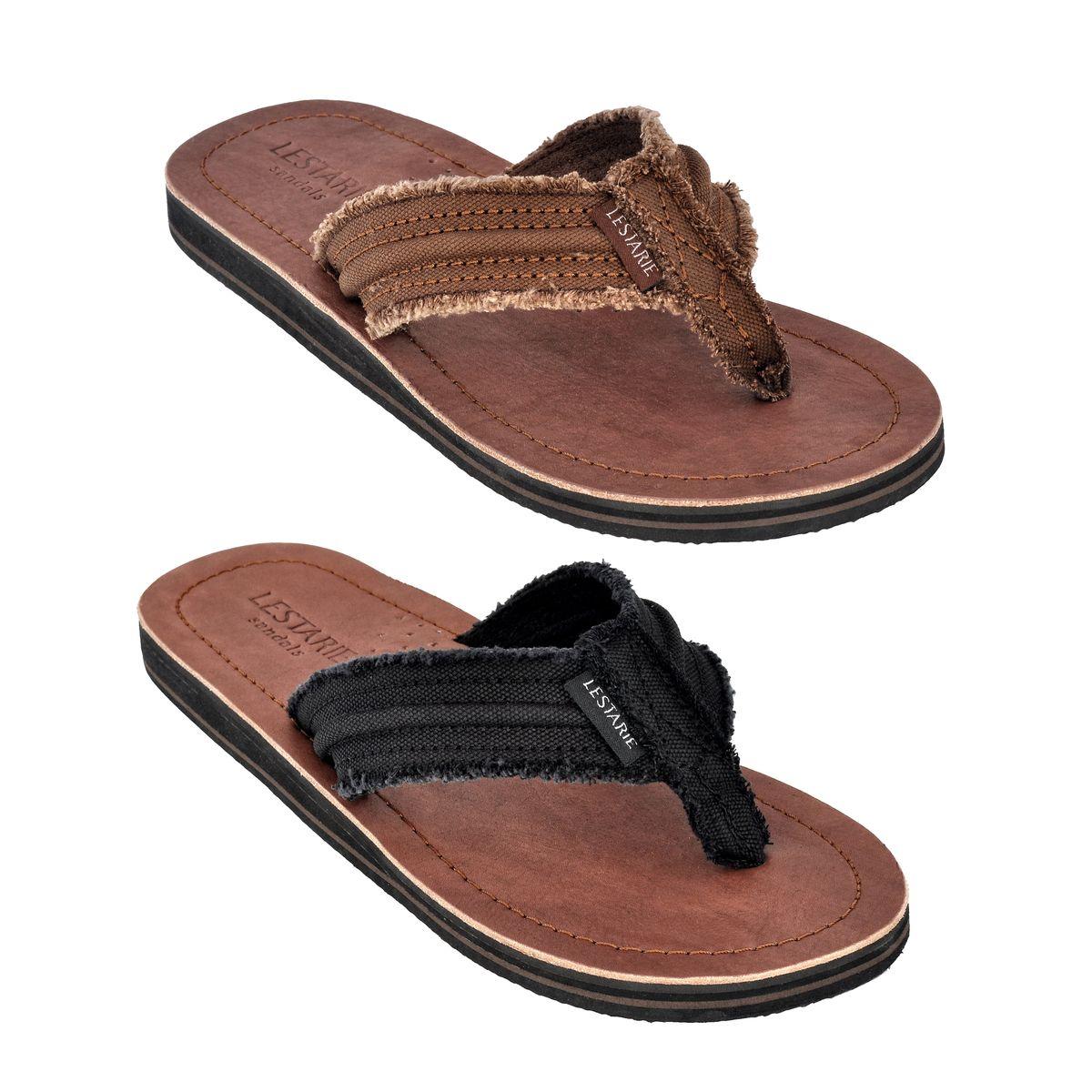 2708f5919d87e0 Das Bild wird geladen LESTARIE-Herren-Sandale-Zehentrenner-Leder-Flip-Flop- Sandalen-