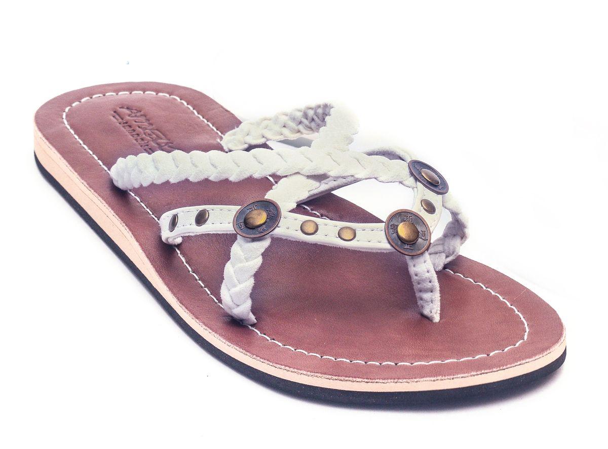 premium selection 17cfe cc7ff Details zu LESTARIE Damen Sandale Leder Sandalen Zehentrenner Flip Flops  Zehensteg Gr.36-43