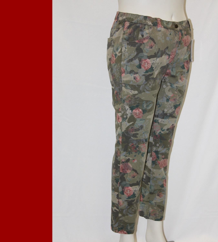 X KJ BRAND  Hose Jeans  BETTY  Röhre Ankle oliv bunt schlanker Oberschenkel