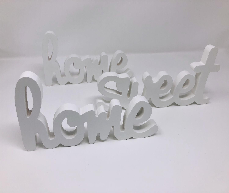 Häufig Holz Deko Schriftzug Home Sweet Home weiß Wand 3D Schild CN67