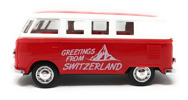 VOLKSWAGEN Bus T1 VW Rot 13cm Modell Schweiz Modellauto Auto Spielzeugauto 17
