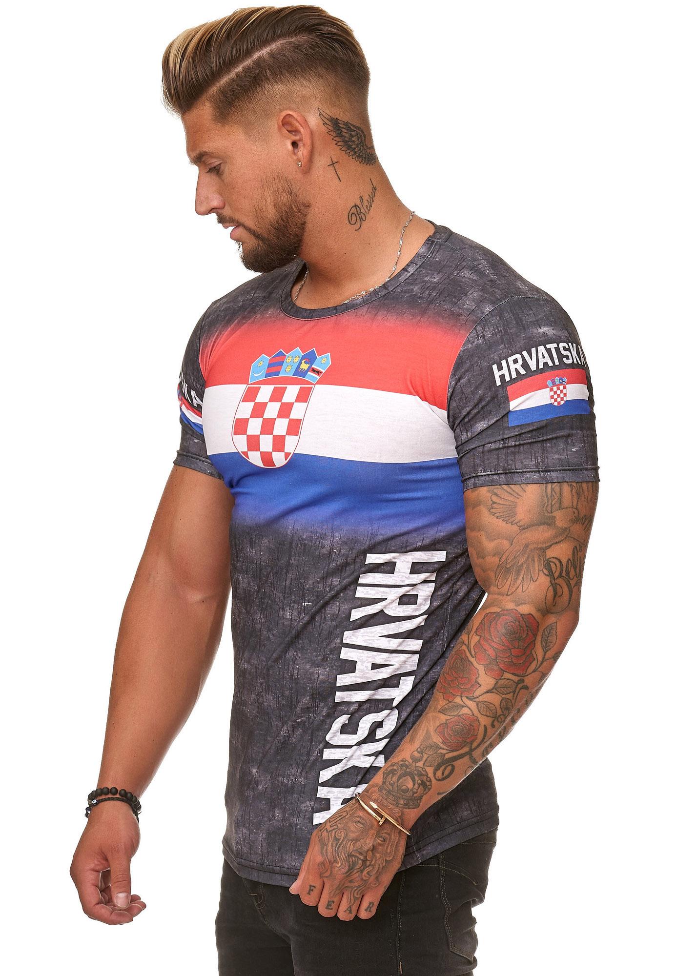 T-SHIRT MAGLIETTA SLIM FIT FLAG TURCHIA Croazia Polonia uomo codice 47