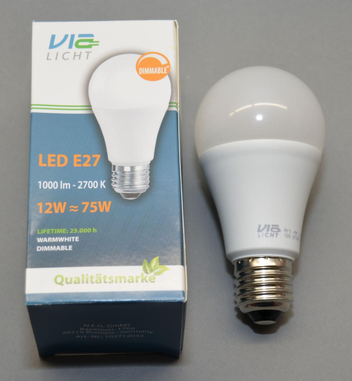 led leuchte e27 12 watt dimmbar 1000 lumen 2700k warmwei von via licht ebay. Black Bedroom Furniture Sets. Home Design Ideas