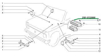 Bloque de copia de seguridad caja de fusibles Lada Niva taiga 2101-3722000
