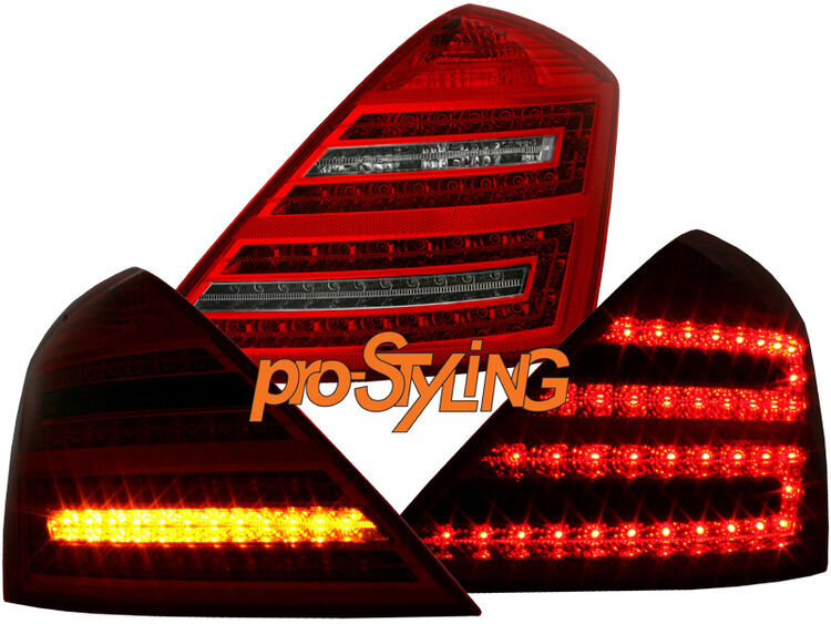 DE Rückleuchten Mercedes Benz W221 S-Klasse LED rot chrom 05-09 Faceliftoptik