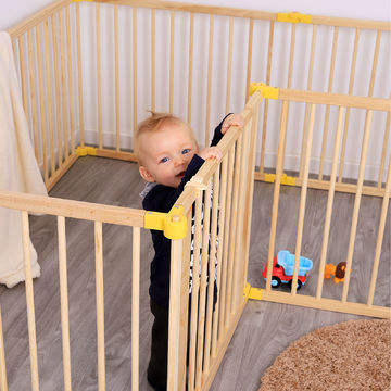 L 8 Elemente B-Ware,Holz Laufstall für Babys Kleinkinder H 68 cm 270° klappbar