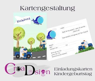 Einladungskarte Kindergeburtstag Einladung Polizei Junge Party