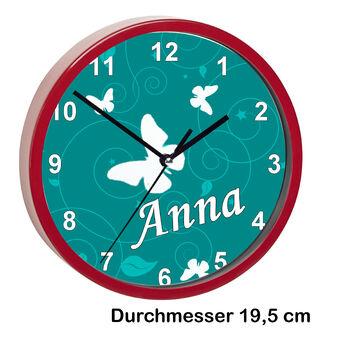 Kinderuhr mit Namen Kinder Funkuhr leise Wanduhr Kinderzimmer Uhr Schmetterling
