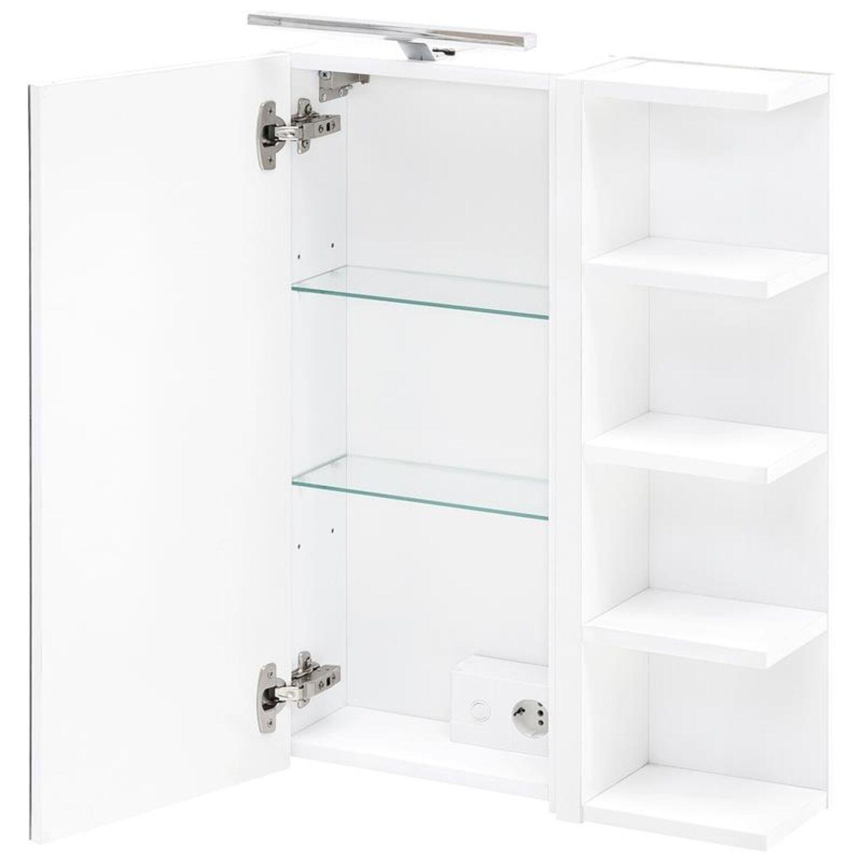 spiegelschrank mit regal in weiß 50 cm badmöbel spiegel