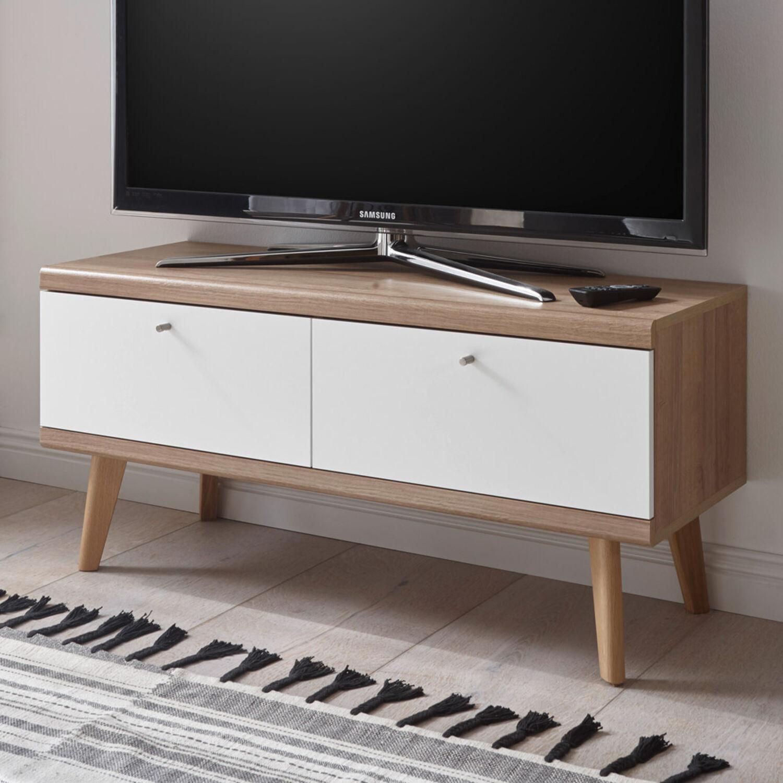 Retro TV-Lowboard weiß matt Eiche Fernsehschrank mit 2 Klappen Kommode Anrichte