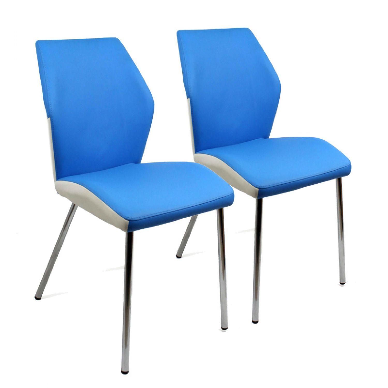 2er Set Küchenstuhl WEISS Esszimmerstuhl höhenverstellbar aus Kunstleder