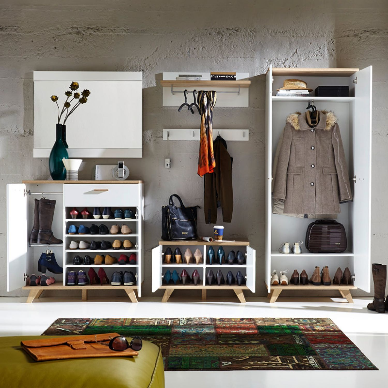 Unglaublich Garderobenschrank Groß Sammlung Von Garderoben Set Soslo-01 Supermatt Weiß, Sanremo Eiche