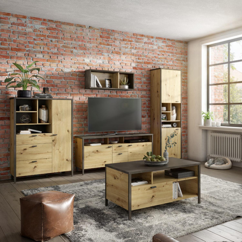 Wohnwand Kombination Set Anbau Tv Wand Industrial Wohnzimmer Eiche 5 Tlg 300 Cm Ebay