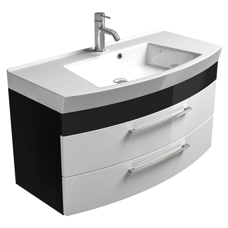 Badezimmer Waschtisch 100cm weiß, anthrazit Badmöbel Waschbecken Gäaste WC Bad   eBay