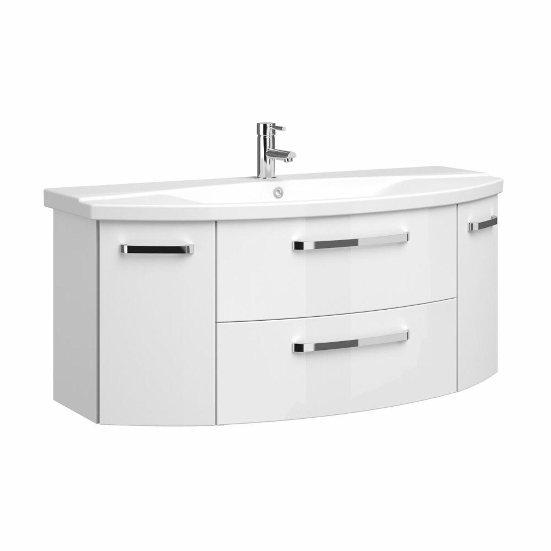 Details zu Badezimmer Waschtisch mit Unterschrank Hochglanz weiß 11cm  Keramik Waschbecken