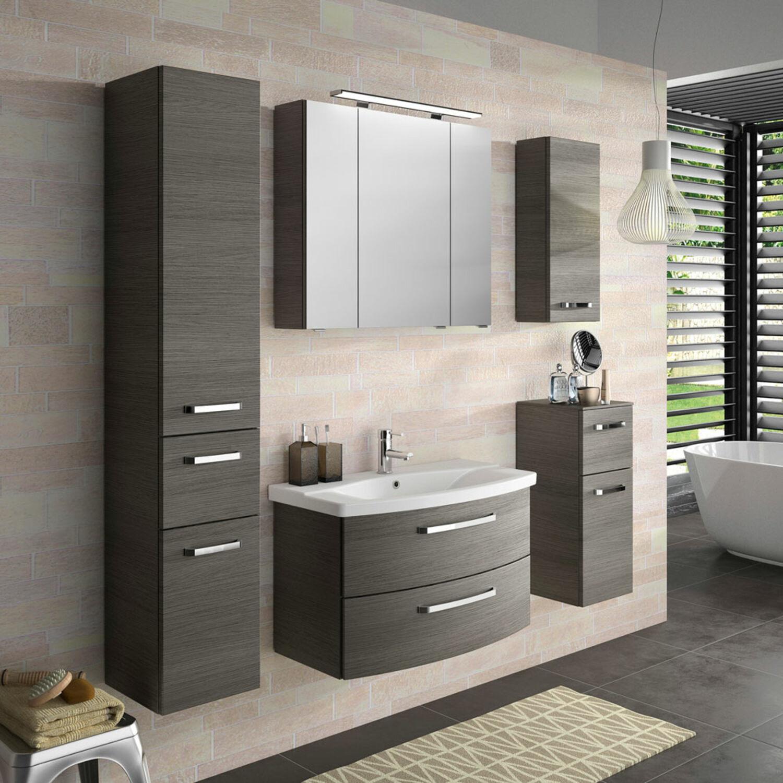 Details zu Badezimmer Möbel-Set grau Bad Waschplatz Spiegelschrank  Hochschrank Wandschrank