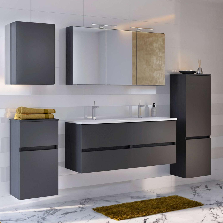 LED Badezimmer Spiegelschrank 120 cm matt schwarz ...