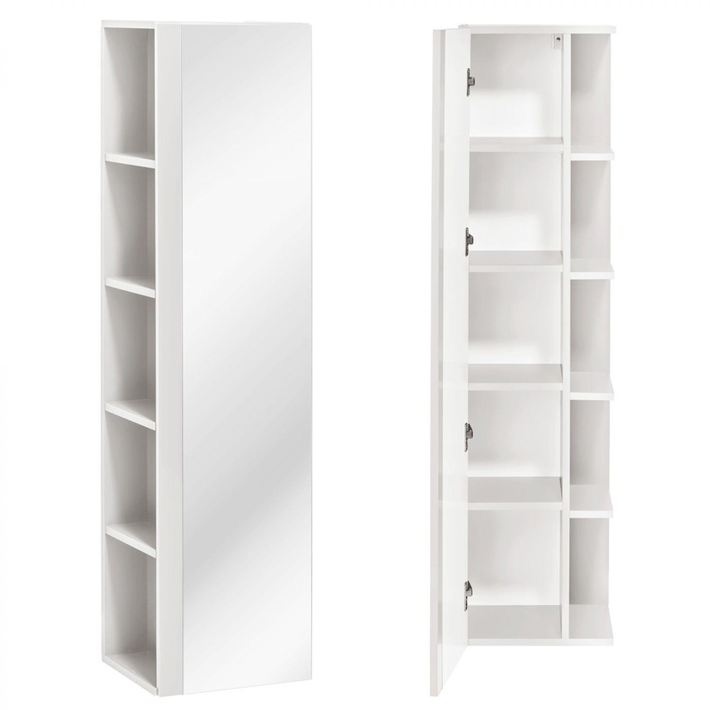 Details zu Badezimmer Hochschrank mit Spiegel Tür und Regal seidenmatt  Badschrank Badmöbel