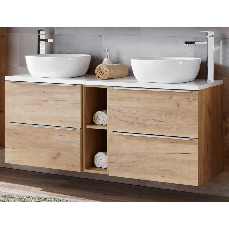Details zu Badezimmer Doppel-Waschtisch Unterschrank Eiche weiß  Keramikbecken Badmöbel Set