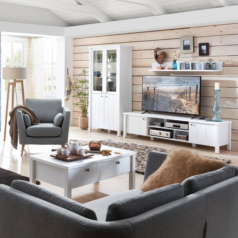 landhaus wohnzimmer set in supermatt weiss stord 36 wohnwand inkl led mit couchtisch
