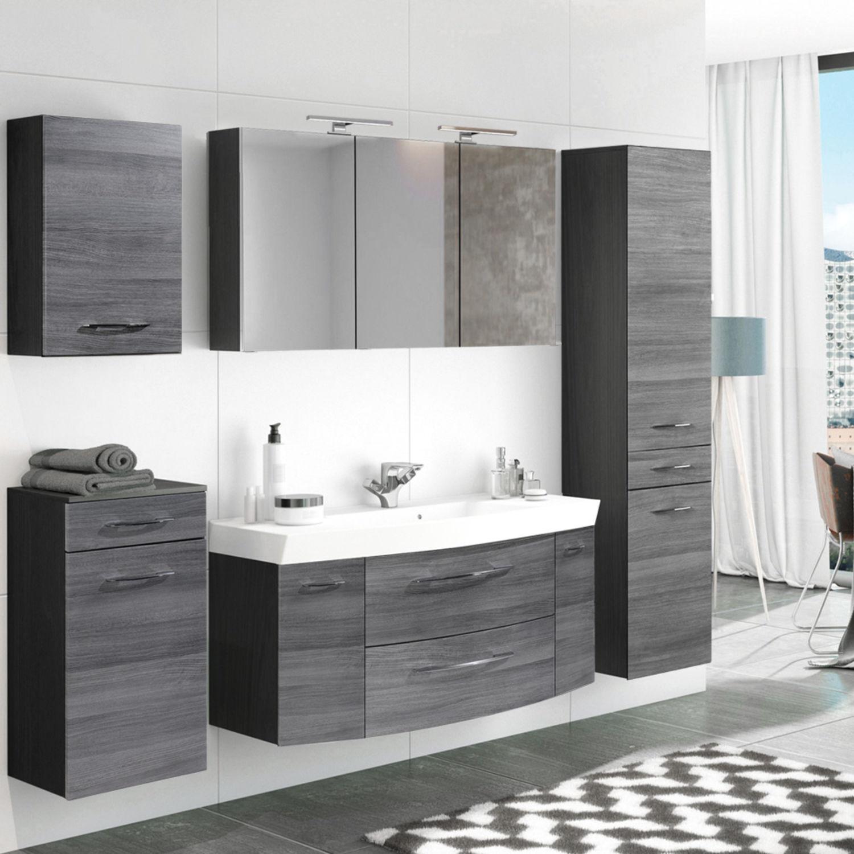 Komplett Badezimmer-Möbel Set 19cm Waschtisch Spiegelschrank Eiche  Hochschrank  eBay