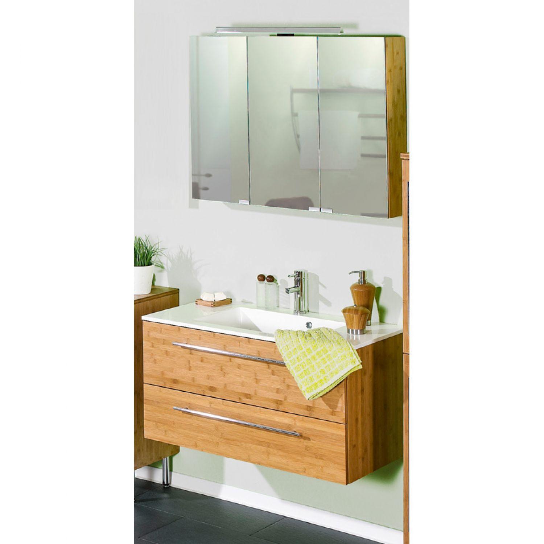 Badezimmer Waschplatz Badmöbel Set Bambus Massiv Waschtisch Led