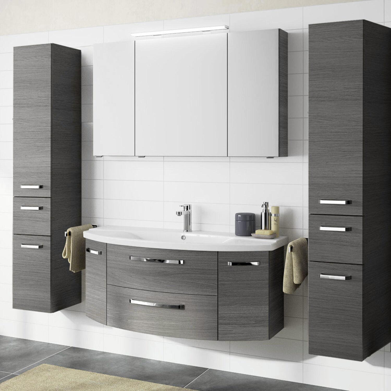 Badezimmer Set 120cm Waschtisch mit Unterschrank grau Waschbecken 2 Hochschränke   eBay
