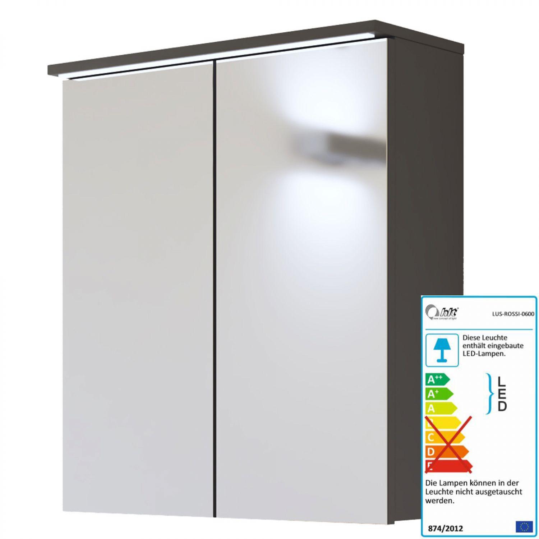 Badezimmer Hochschrank Badschrank Seitenschrank 60cm 4 Türen Schublade Graphit