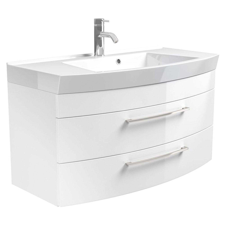 Badezimmer Waschtisch mit Unterschrank 100cm in Hochglanz ...