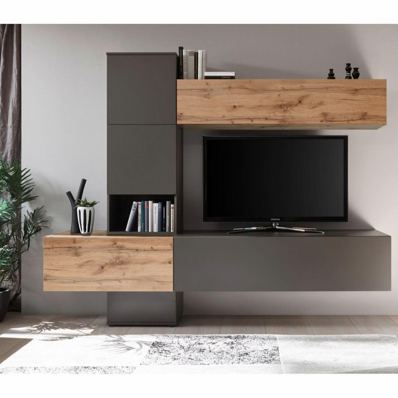 Design Wohnwand Anbauwand Tv Mediawand Wohnzimmermobel Matt