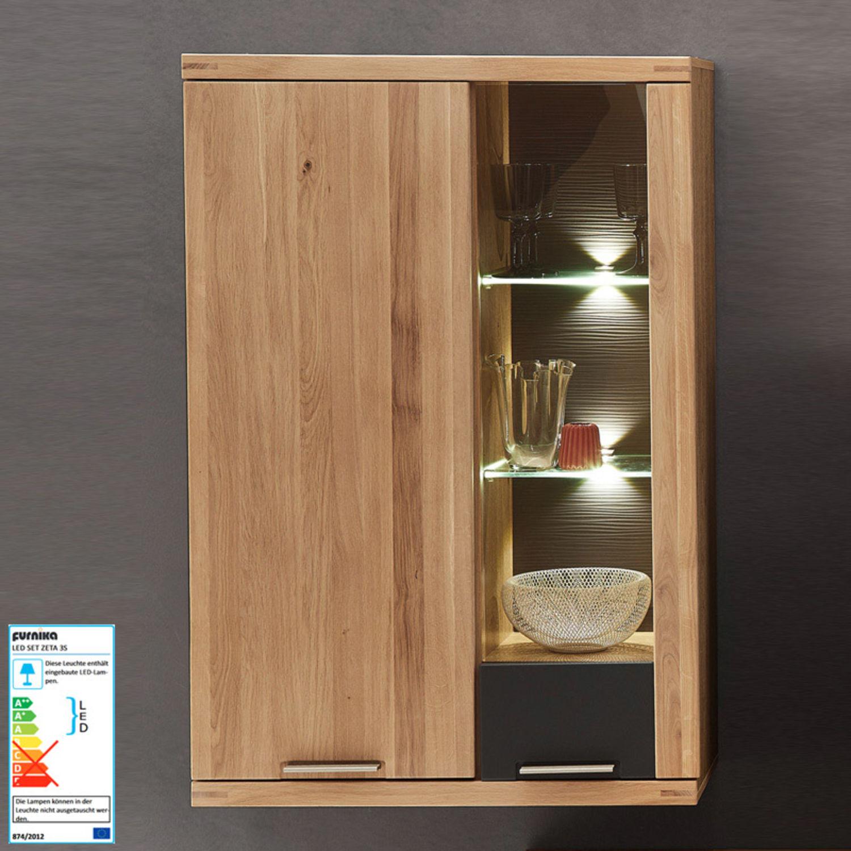 Wohnwand Mit Hänge- Und Standvitrine Wildeiche LED