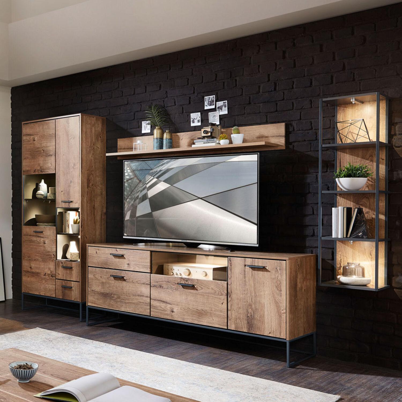 Wohnwand Anbauwand Industrial Design Wohnzimmer Tv Mediawand Led Eiche Graphit Ebay