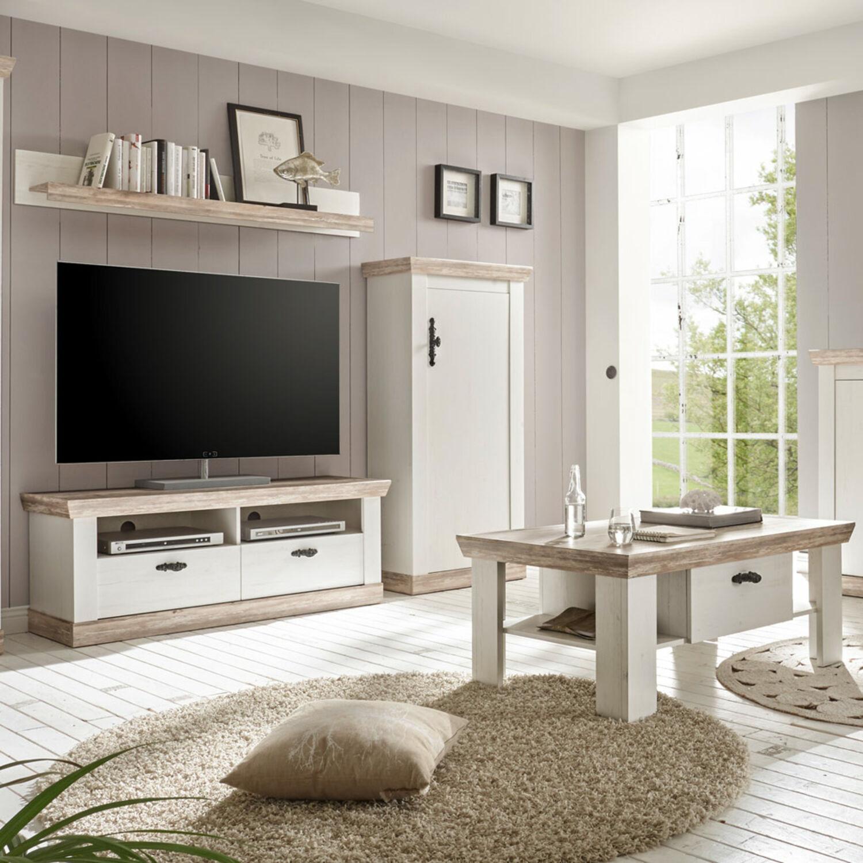 Wohnwand Mit Couchtisch Weiss Landhaus Tv Schrank Lowboard