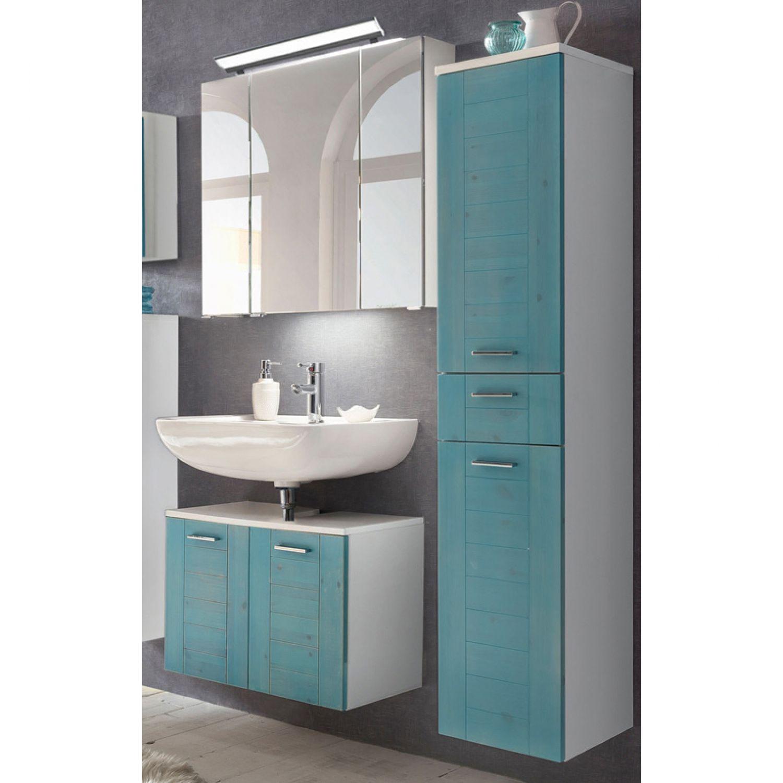 Landhaus Badezimmer Möbel Set Mit Massivholzfronten Blau Gewischt,  BELFAST 04, LED Spiegelschrank, B/H/T Ca. 128/200/35,5cm