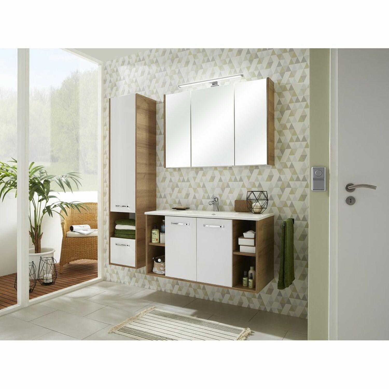 Badezimmer LED-Spiegelschrank 100cm in Eiche Riviera ...
