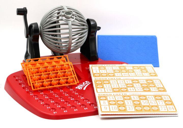 Bingo Spiel-Set XL mit Bingomühle Metalltrommel Bingotrommel und Ticketblock