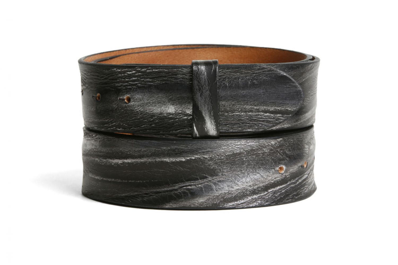 Leder Gürtel Wechselgürtel Vollrindleder Rindsleder schwarz gecrusht Crush 4 cm